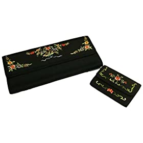 Silk clutch purse and wallet set with embroidered spring flower accents - black