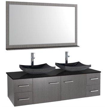 Bianca 60 Inch Wall-Mounted Double Bathroom Vanity - Grey Oak Finish with Black Granite Countertop