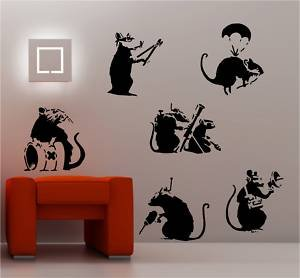 online design banksy style rats x 6 wandtattoo vinyl graffiti schwarz k che haushalt. Black Bedroom Furniture Sets. Home Design Ideas