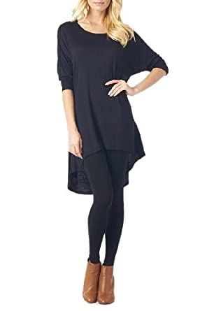 Women'S Rayon Span High & Low Tunic with 3/4 Sleeves - Black S
