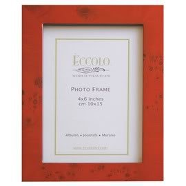 Eccolo World Traveler Burl Wood Frame, Burgundy, Holds A 5 X 7-Inch Photo front-599846