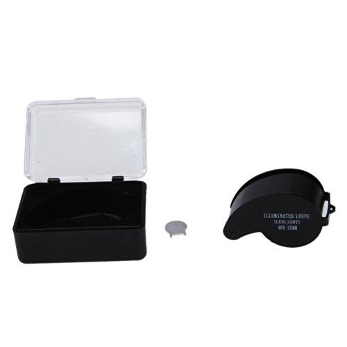 Ztdm 40X 25Mm Led Jeweler Loupe Microscope Magnifier Eye Loupe With Led Illumination Black
