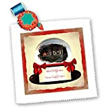 Blessed Christmas Snowglobe with Cabin - 10x10 Inch Quilt Square