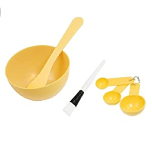 uxcell Set 4 in 1 DIY Facial Mask Mixing Bowl Stick Brush Spoon Tool Apricot