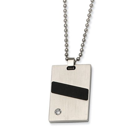 Stainless Steel, Black Rubber and CZ Necklace 22 Inch