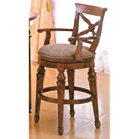 Rustic Oak Finish Wooden Swivel Barstool 30