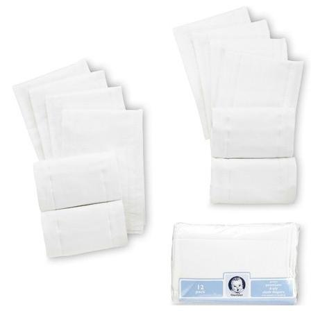 Gerber 12-Pack Prefold Birdseye 3-Ply Cloth Diapers, White