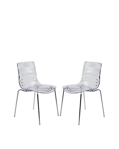 LeisureMod Set of 2 Astor Modern Dining Chairs, Clear