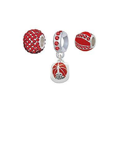 Red Enamel Firefighter Helmet - Sparkle Red Charm Beads (Set of 3)