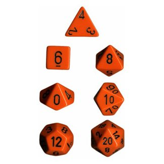 Polyhedral 7-Die Opaque Dice Set - Orange with Black CHX25403