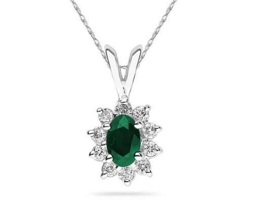 Oval Shaped Emerald and Diamond Flower Pendant