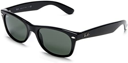 Ray-Ban Men's RB2132-03 New Wayfarer Wayfarer Sunglasses, Black Frame/Green G-15XLT Lens 52 mm