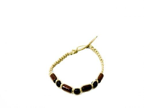 Fun Unisex Wooden Bead Natural Cord Friendship Bracelet In Beige