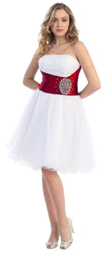 Strapless Cocktail Party Junior Prom Dress #611 (18, White/Red)