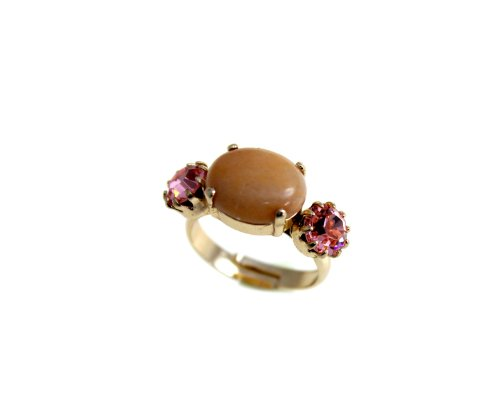 24K Rose Gold Plated Romantic Ring from 'Love and Tenderness' 2013 Collection Designed by Amaro Jewelry Studio with Rose Quartz, Pink Aventurine, Pink Mussel and Swarovski Crystals