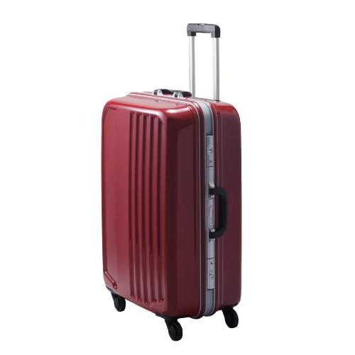 TSAロック搭載 フレームタイプスーツケース キャリーバッグ 大型ヒノモトキャスター装備 スマートX2ハードキャリーケース・Lサイズ  (シグナルレッド)