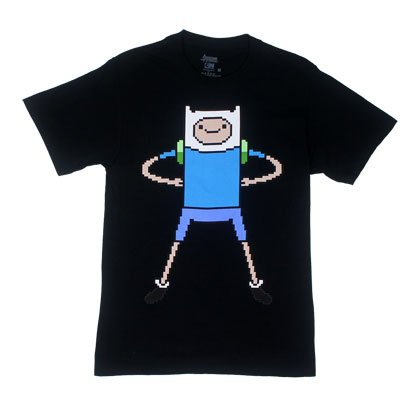 Pixel Finn - Adventure Time T-Shirt: Adult Medium - Black