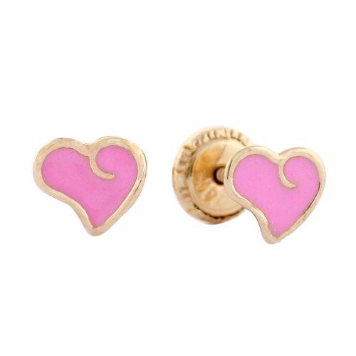 14k Yellow Gold Pink Heart Enamel Baby Earrings