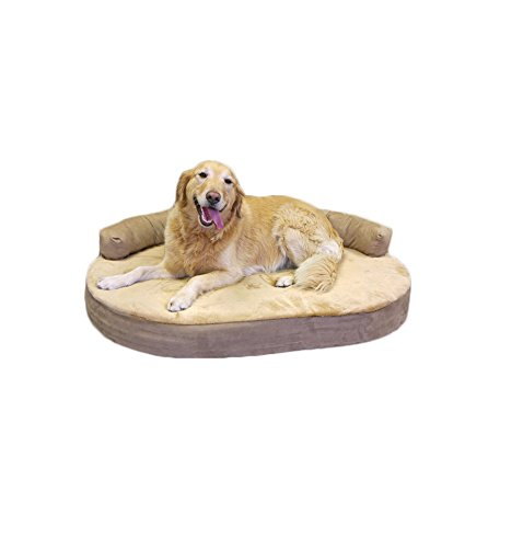 Integrity-Bedding-Orthopedic-Memory-Foam-Joint-Relief-Bolster-Large-Pet-Dog-Bed-Toffee