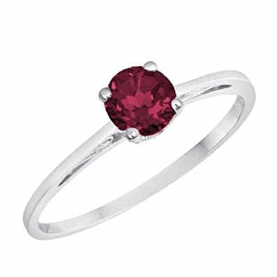 Ryan Jonathan Vintage Style Ruby Solitaire Ring in 14K White Gold