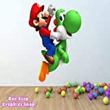 1Stop Graphics - Shop Super Mario Yoshi Full Colour Wall Art Sticker Graphic - Kids Disney C33 - Size: Medium