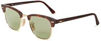 Ray-Ban mens 0RB3016 1145O549 Polarized Clubmaster Sunglasses,Matte Red Havana,49 mm