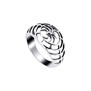 925 Sterling Silver Spider in a Web 4mm Band Ring Size 6