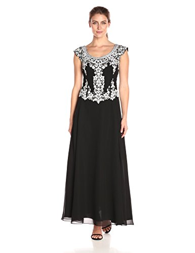 J Kara Women's Cap Sleeve Long Beaded Dress, Black/White/Silver, 14