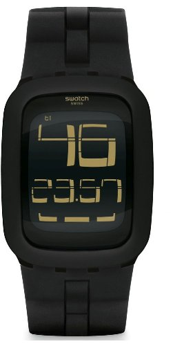 Swatch Men's Digital SURB112 Black Rubber Quartz Watch with Digital Dial (Swatch Watch Digital compare prices)