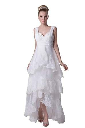 Orifashion white multi tiered lace asymmetric hem wedding for Wedding dresses asymmetrical hemline