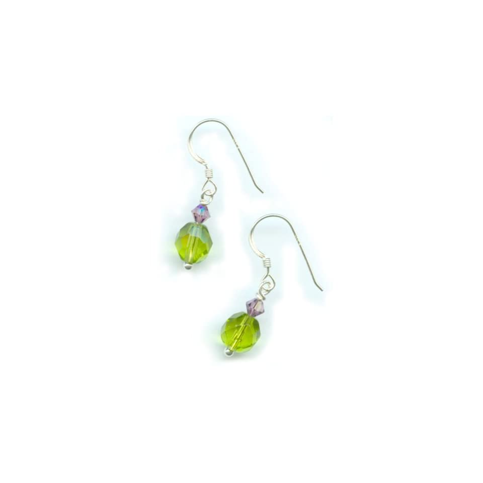 Handmade, Drop Earrings, Czech Fire Polished Beads, Sterling Silver Earwires (Green) Jewelry by Elisabeth