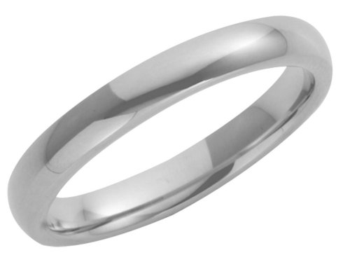 Wedding Ring, 9 Carat White Gold Heavy Court Shape, 3mm Band Width
