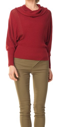 Cowl Neck Dolman Sweater - 1M09490-BURGUNDY-S