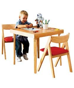 children 39 s oak square table and 2 folding chairs kitchen home. Black Bedroom Furniture Sets. Home Design Ideas