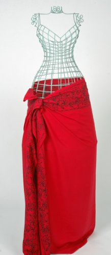 Red Sarong with Black Batik Border from YourSarong