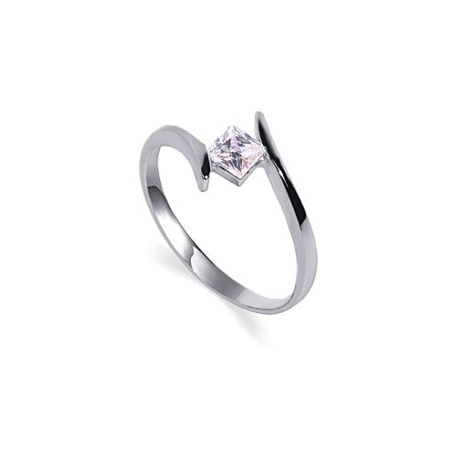 Marvelous Sterling Silver Band Princess Cut Clear Cubic Zirconia Solitaire Slim Promise Ring