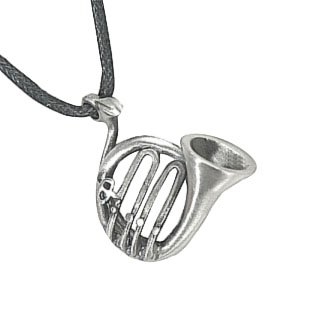 French Horn Instrument Pewter Pendant Necklace