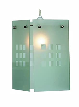 Oaks Lighting Rene White Squares Pattern Glass Panel Pendant Shade