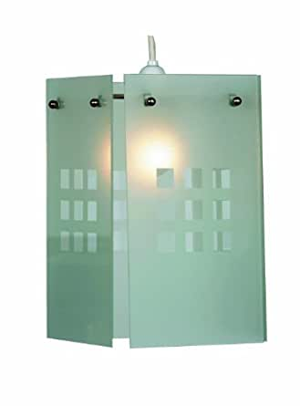 Oaks Lighting Rene White Squares Pattern Glass Panel Pendant Shade