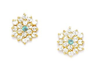 14ct Yellow Gold March Birthstone Lt-Blue CZ Hexagon Shaped Screwback Earrings - Measures 9x8mm