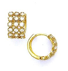 14ct Yellow Gold 2.5 mm Round CZ Hinged Earrings
