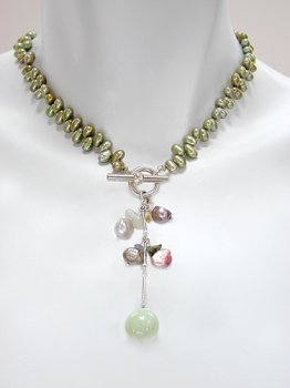 Green Freshwater Pearl Necklace with Pearl and Semiprecious Stone Drop
