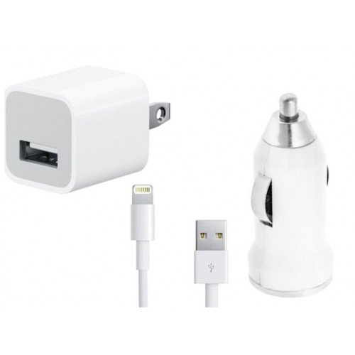 USB Cable, Car Charger 5V 1A White with AC Wall Charger Adapter for iPhone 5