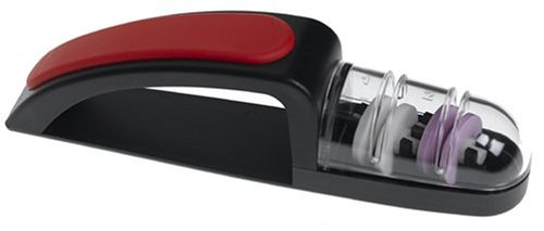 MinoSharp 440/BR Ceramic Wheel Water Sharpener Plus, Black/Red