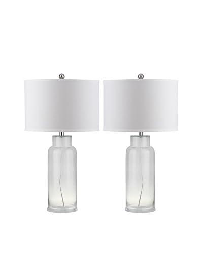 Safavieh Set of 2 Bottle Glass 1-Light Table Lamps, Clear