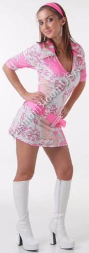 Sexy 2Pc Retro Go-Go Hippy Flower Power Girl Halloween Costume