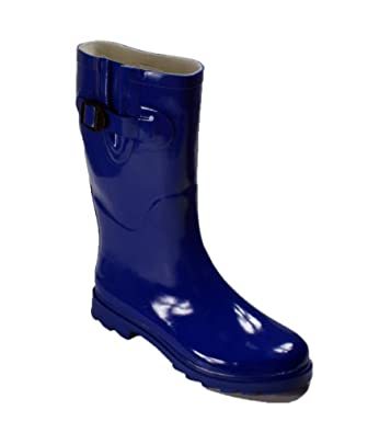 New Women's Flat Wellies Rubber Rain Boots (5, Blue)