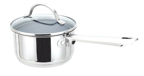 Green Cuisine 2 Quart Stainless Steel Saucepan with Glass Lid- Non Stick Ceramic Coating