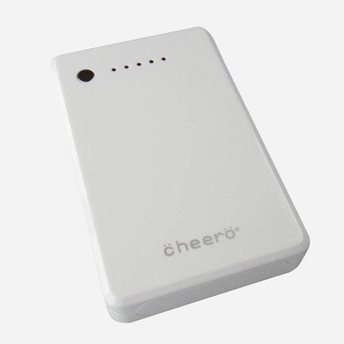 cheero Power Plus 10000mAh(白バージョン) 大容量モバイルバッテリー (2.1A,1A 2出力ポート/  ポーチ付/半年保証) ★iPhone5 / iPhone4S 4 3GS / 各種スマホ / 各iPad / iPod / PSP / Wi-Fiルータ対応★