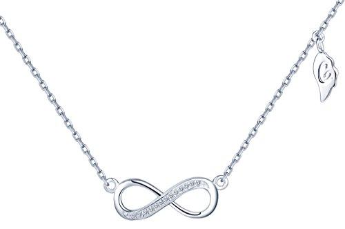 yumilok, collana classica simbolo dell' infinito ciondolo da donna in argento Sterling 925con zirconi